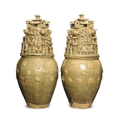 A PAIR OF CHINESE YUEYAO-STYLE