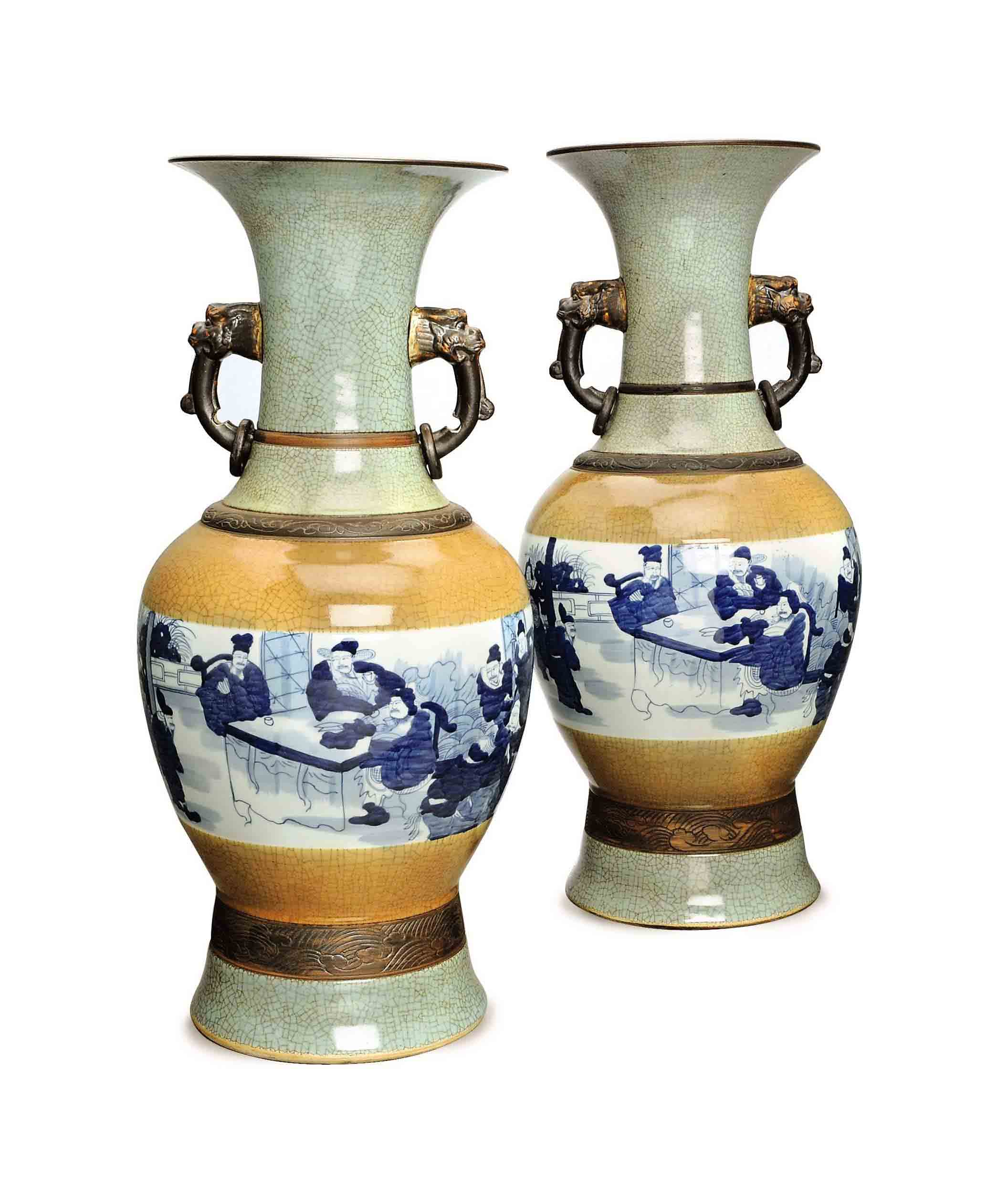A Pair Of Large Chinese Blue And White Cafe Au Lait Ground And Celadon Glazed And Celadon Ground Two Handled Vases Jar All Other Categories Of Objects Christie S