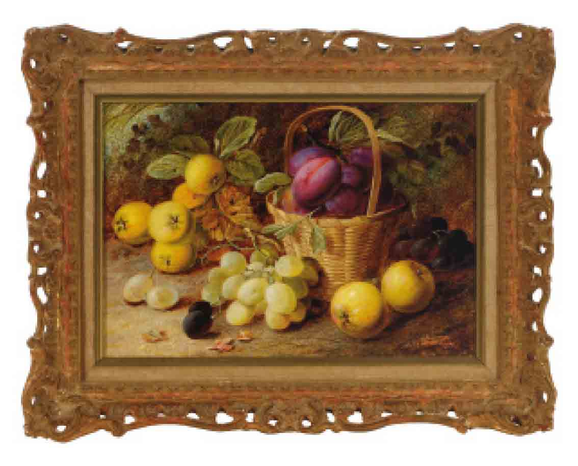 Still life of rasberries, plums and peaches on a table