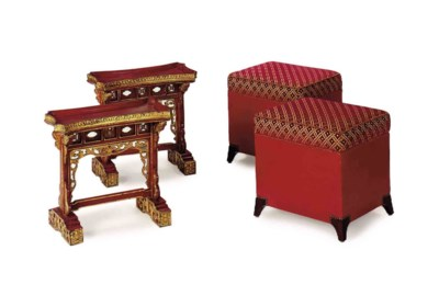 A PAIR OF RED-PAINTED AND UPHO