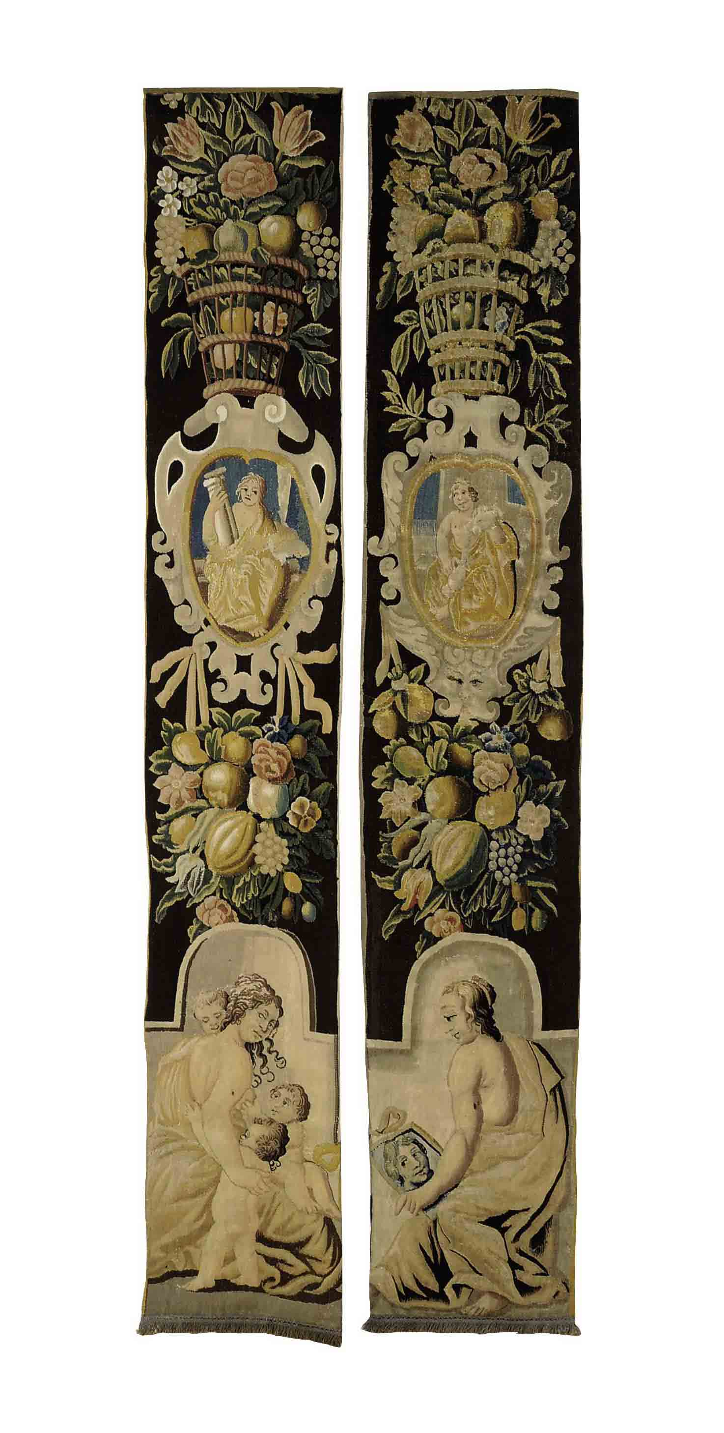 A PAIR OF FLEMISH TAPESTRY BOR