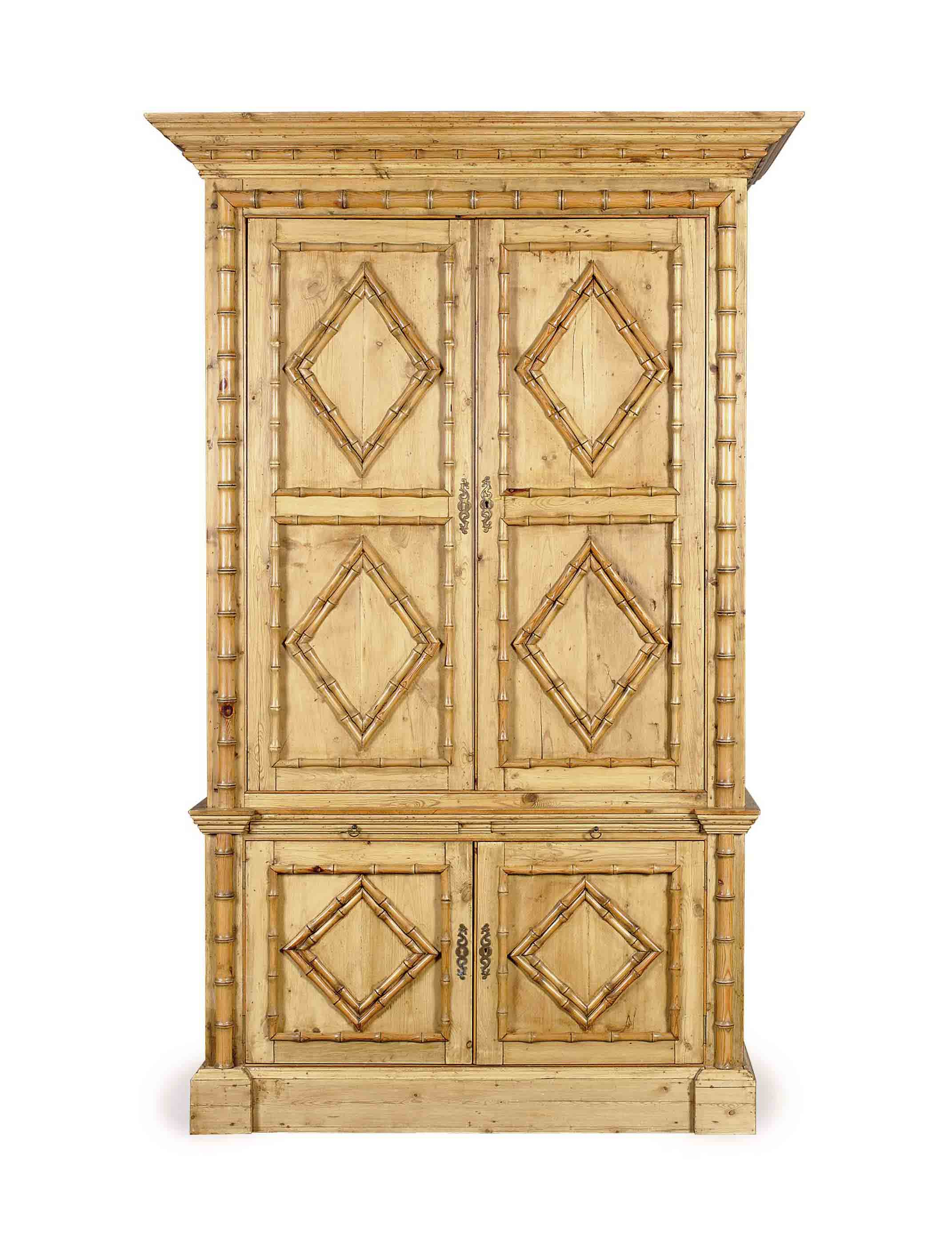A FAUX BAMBOO PINE ARMOIRE,