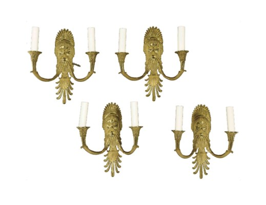 A SET OF EIGHT GILT BRONZE TWO