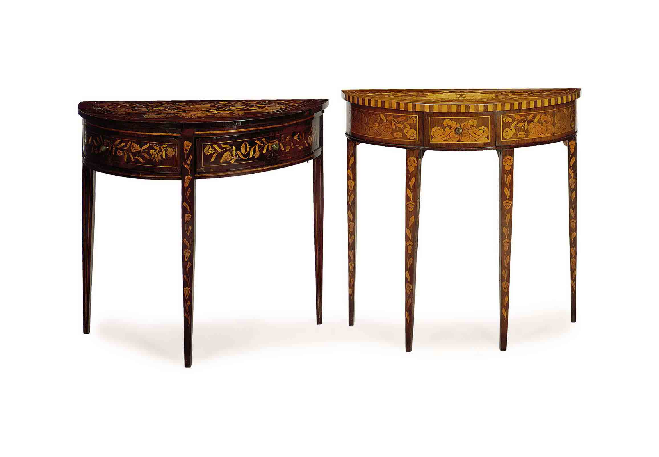 TWO DUTCH MARQUETRY MAHOGANY D