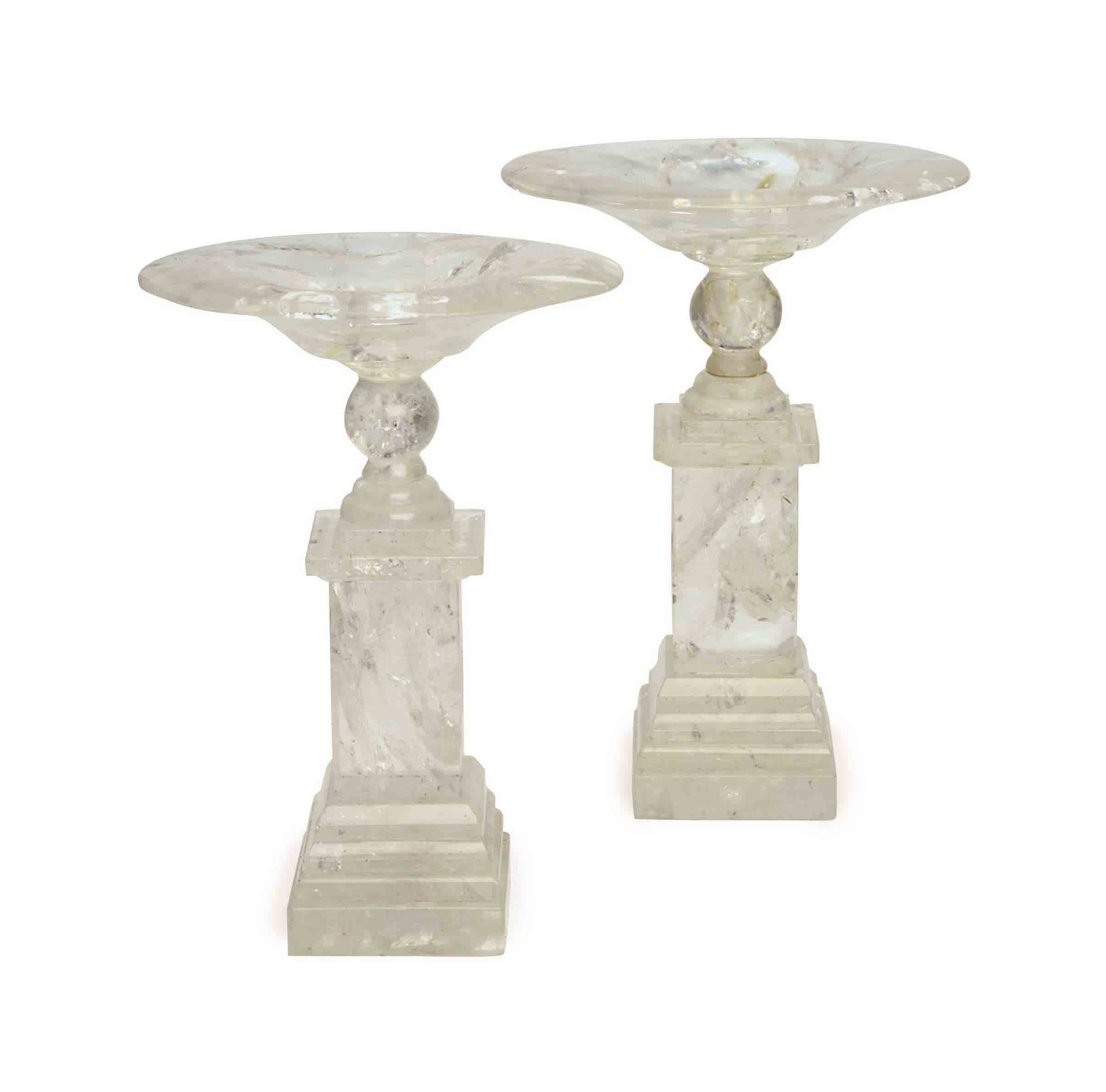 A PAIR OF ROCK CRYSTAL TAZZA,