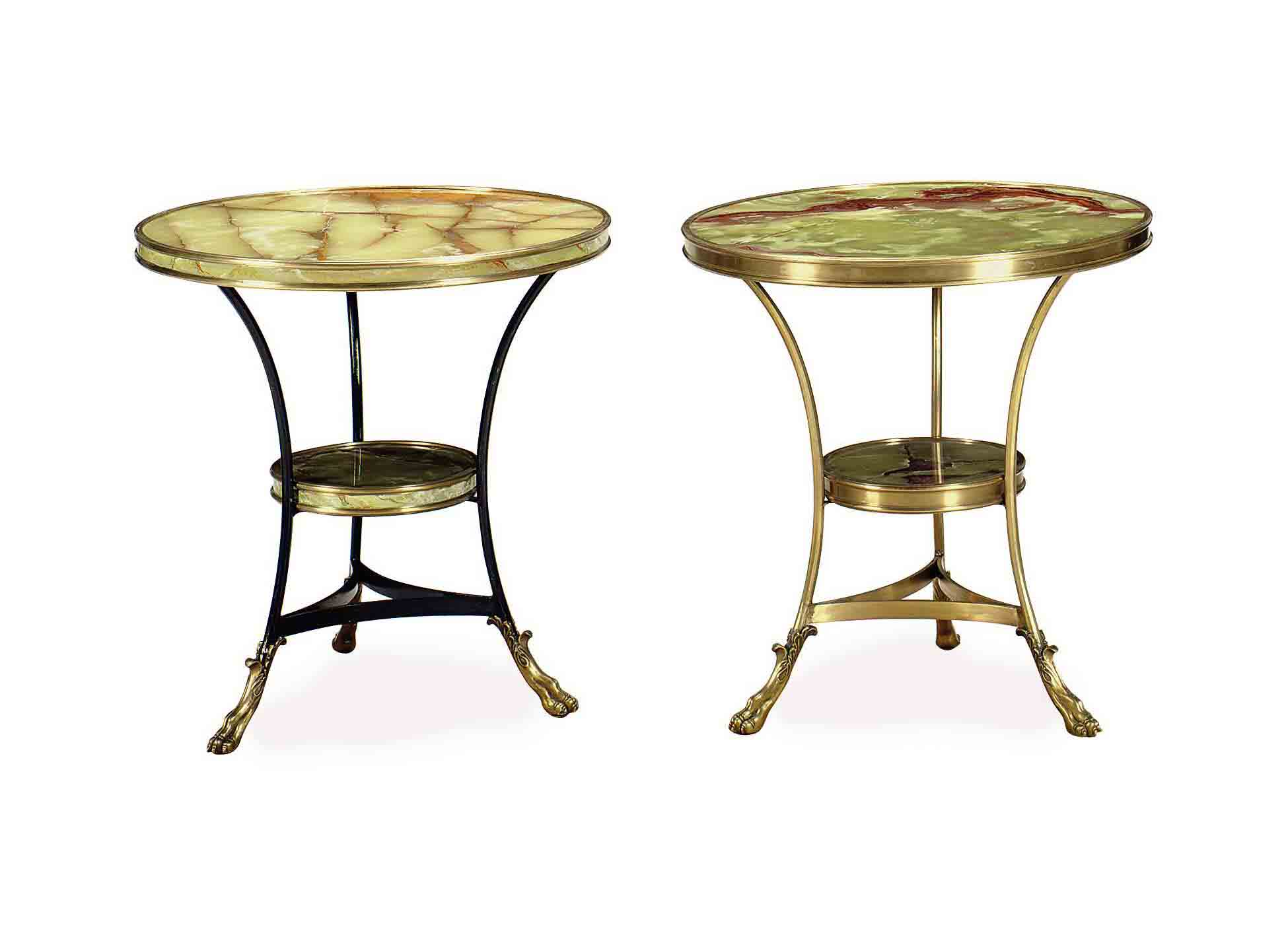 A PAIR OF GILT, PATINATED-META