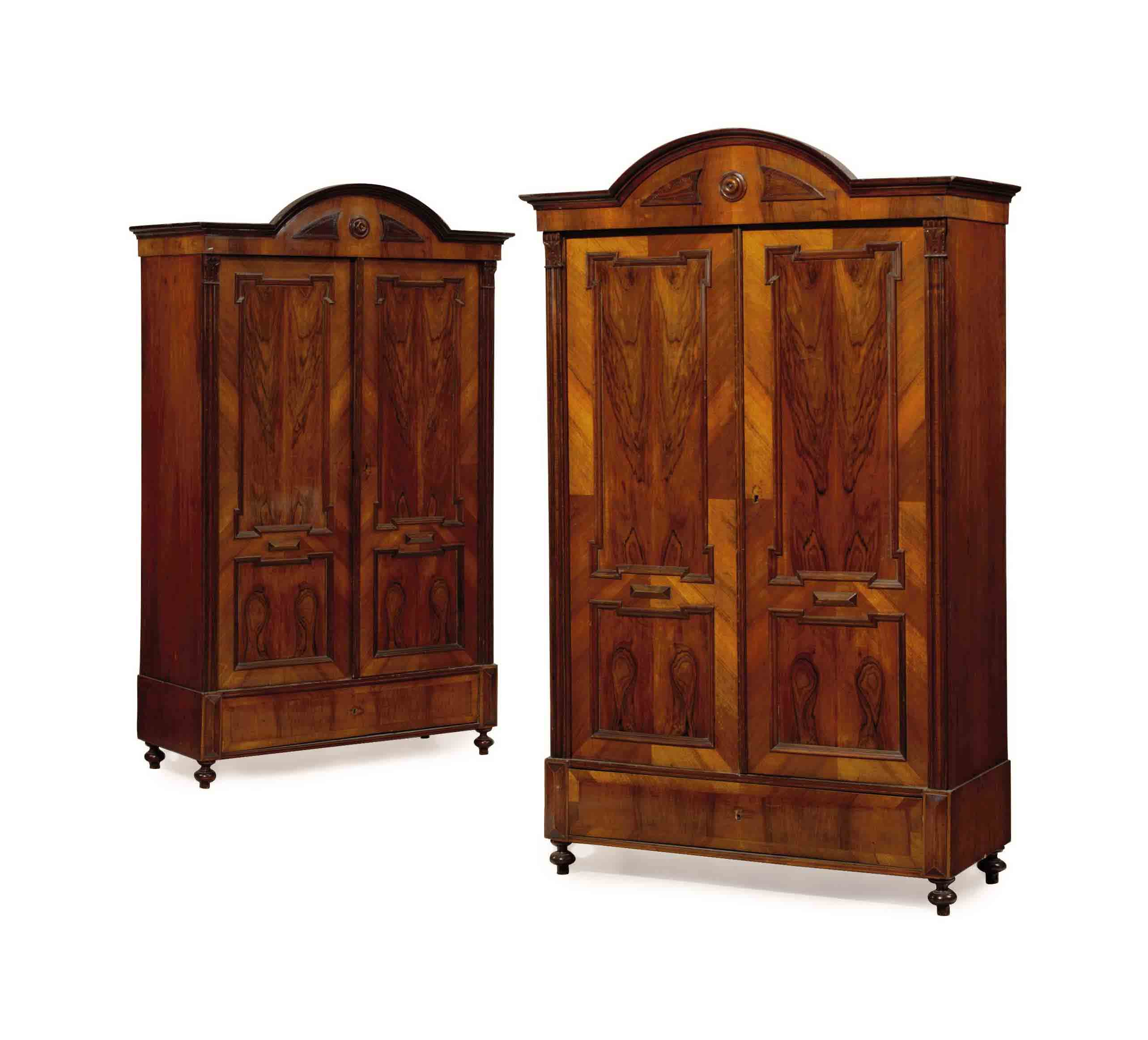 A PAIR OF FRENCH WALNUT ARMOIR