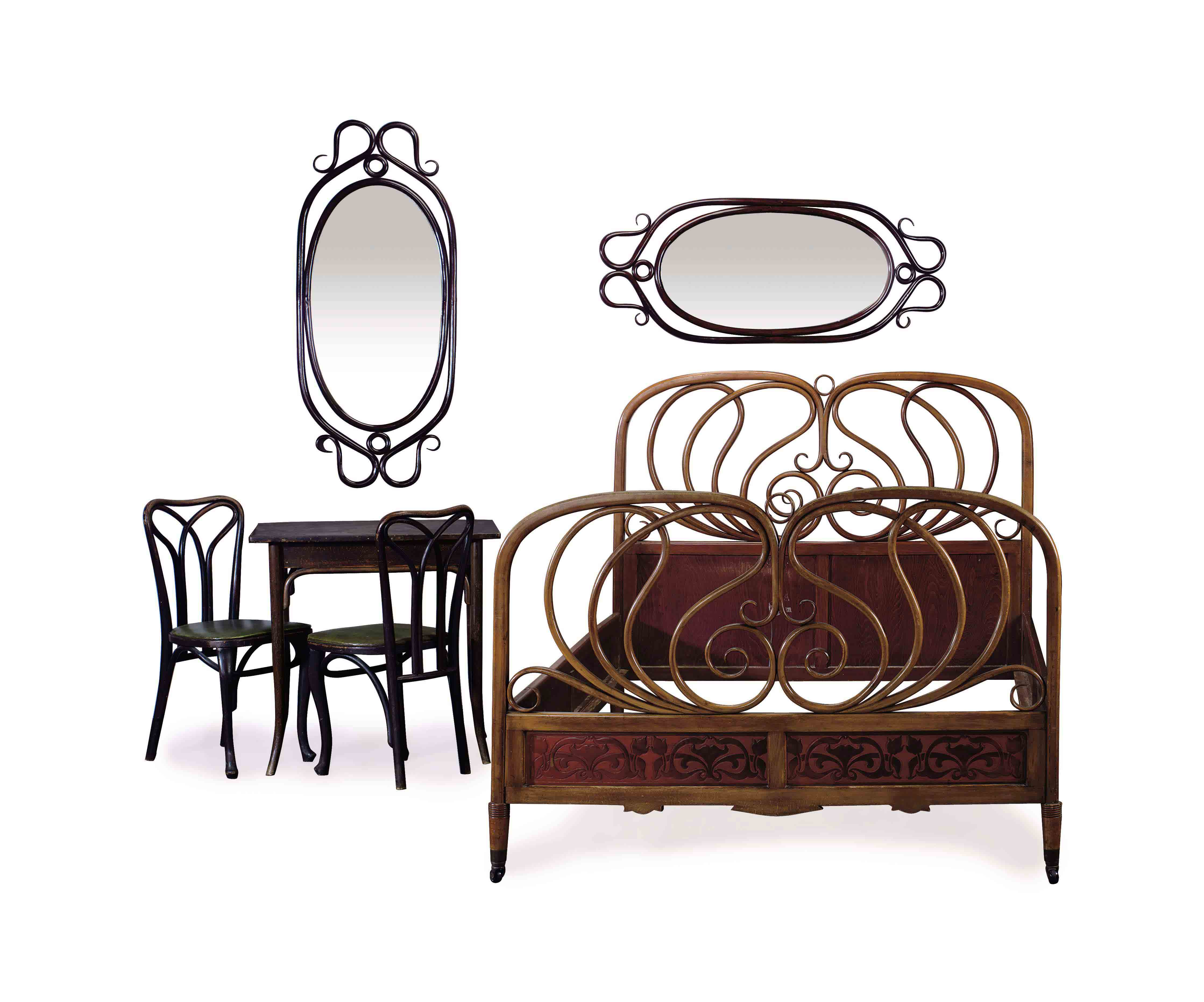 AN ASSEMBLED STAINED BENTWOOD