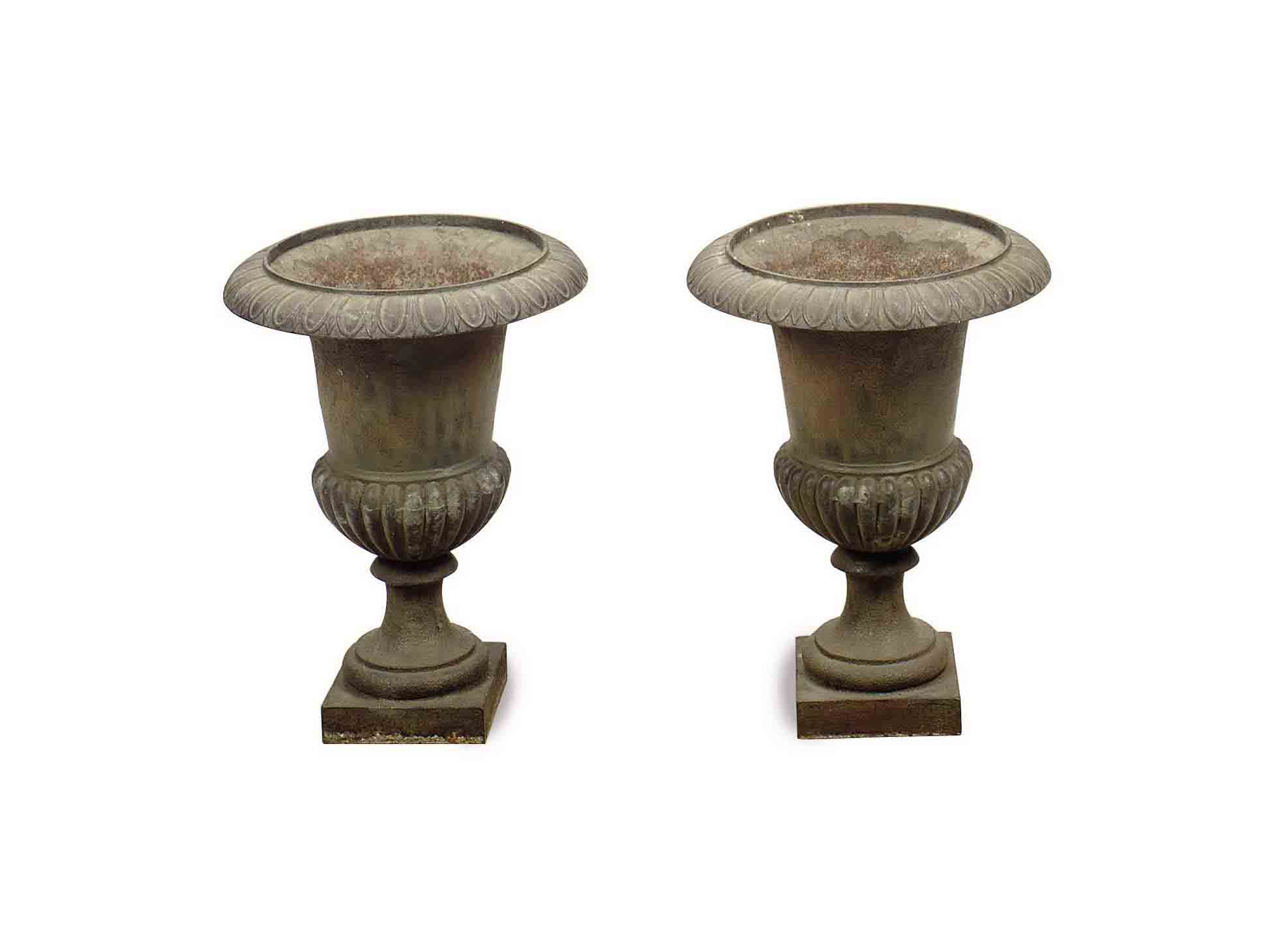 A PAIR OF CAST-IRON URN-FORM J