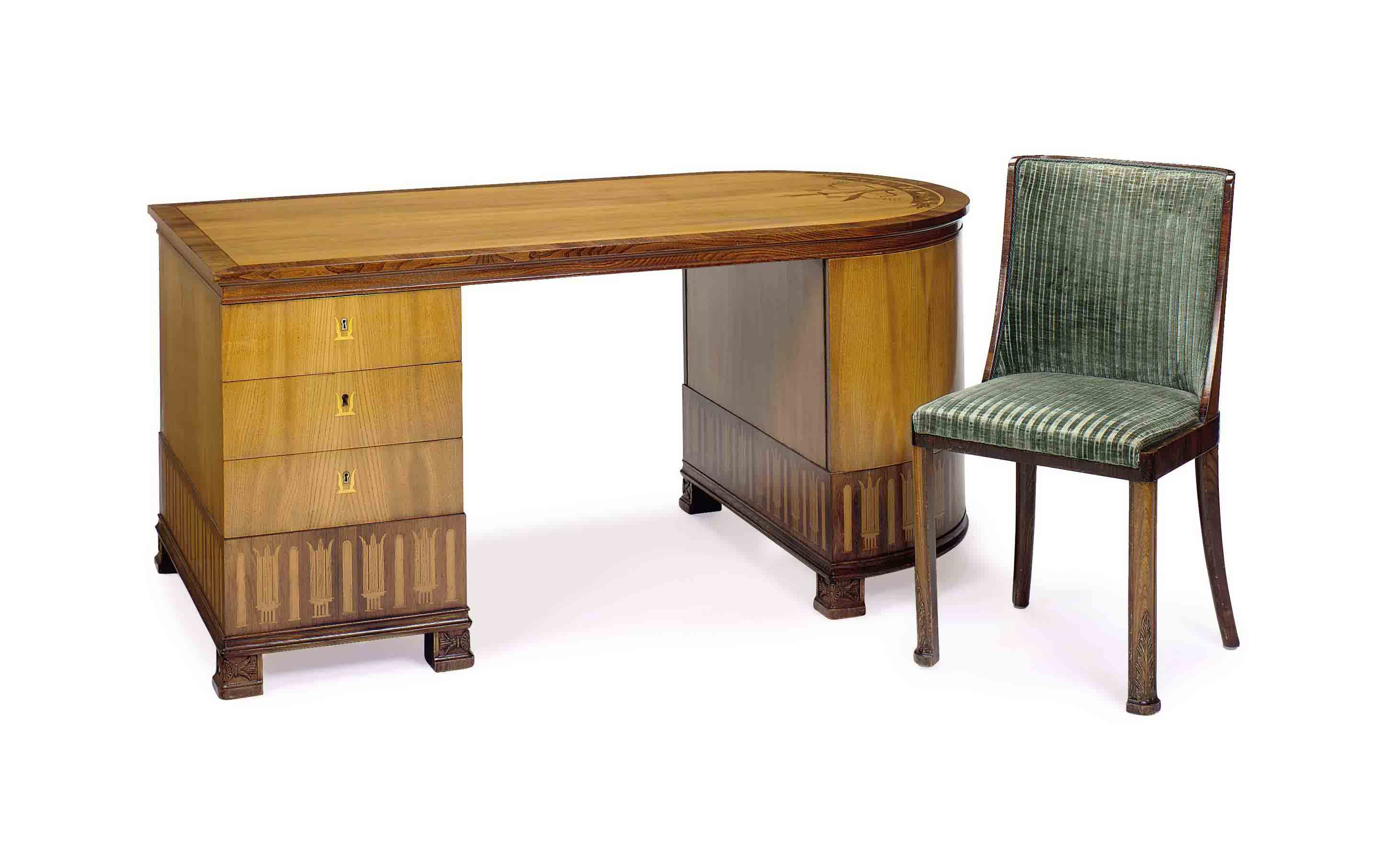 AN ART DECO FRUITWOOD AND WALN
