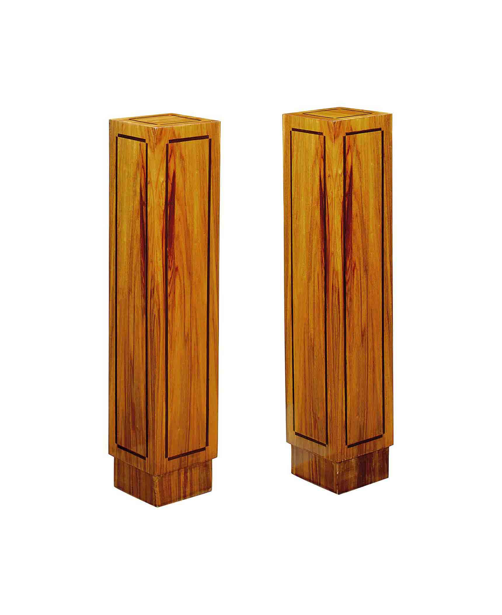 A PAIR OF WALNUT INLAID SQUARE