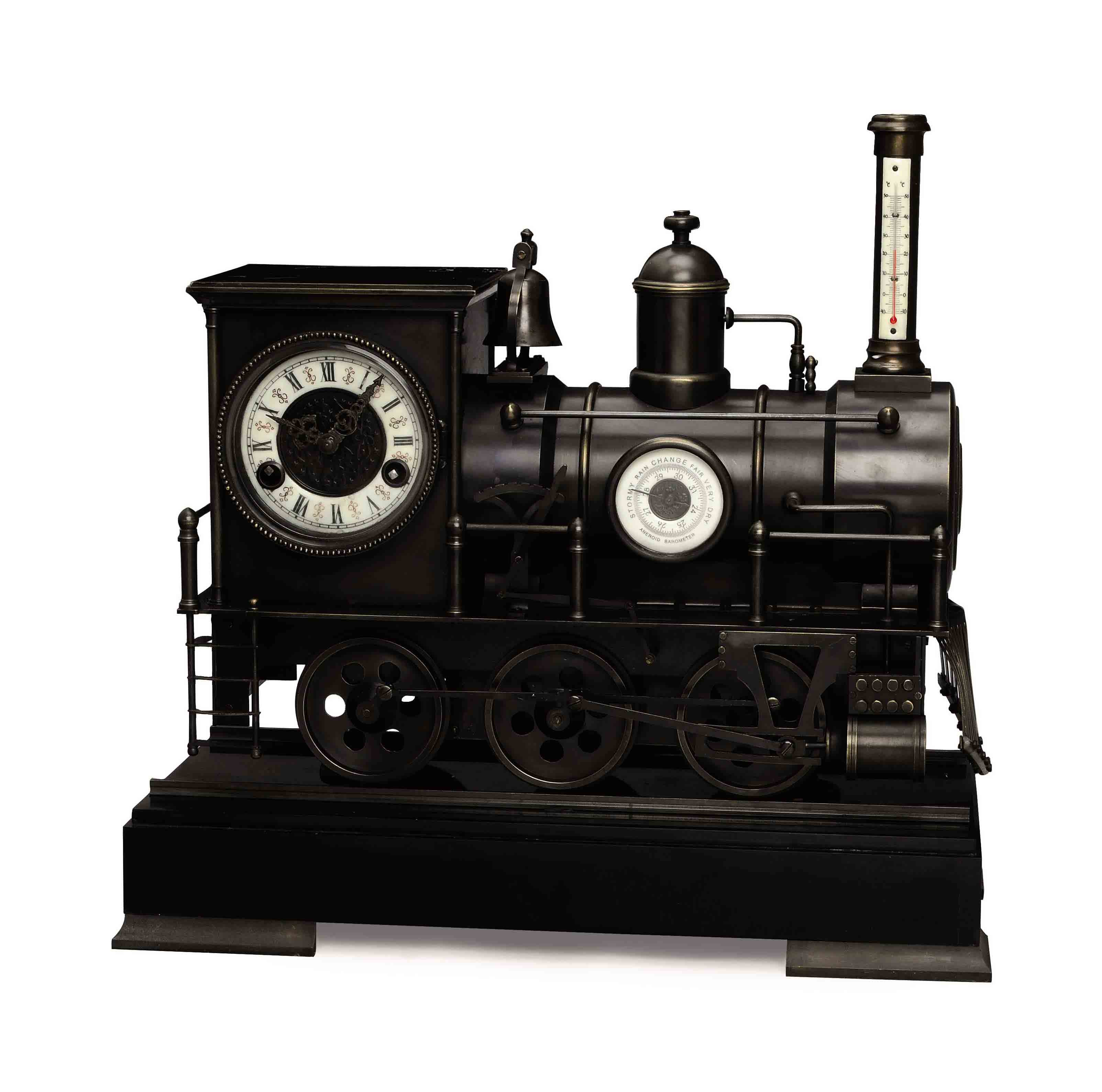 A PATINATED BRONZE TRAIN-FORM