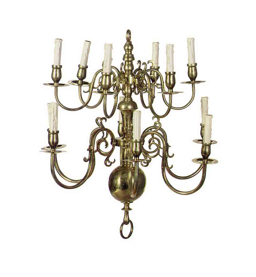 A BRASS TWELVE-LIGHT CHANDELIE