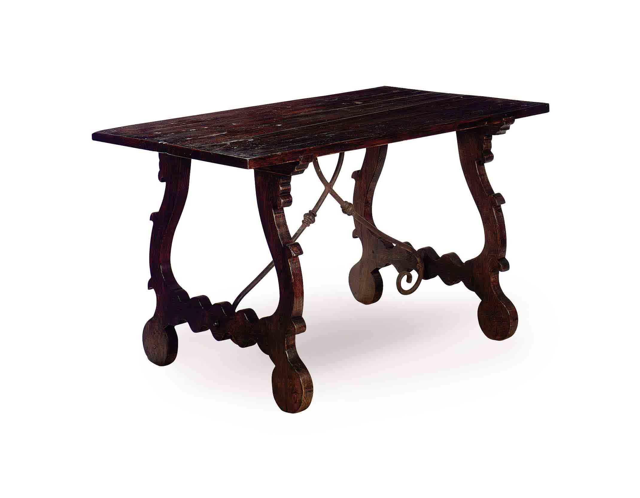 A CONTINENTAL OAK TRESTLE TABL