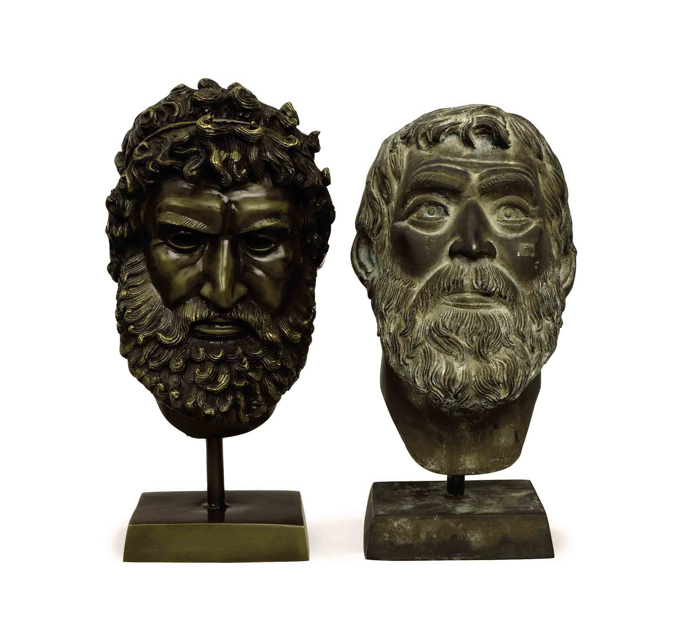 TWO PATINATED-BRONZE HEADS,