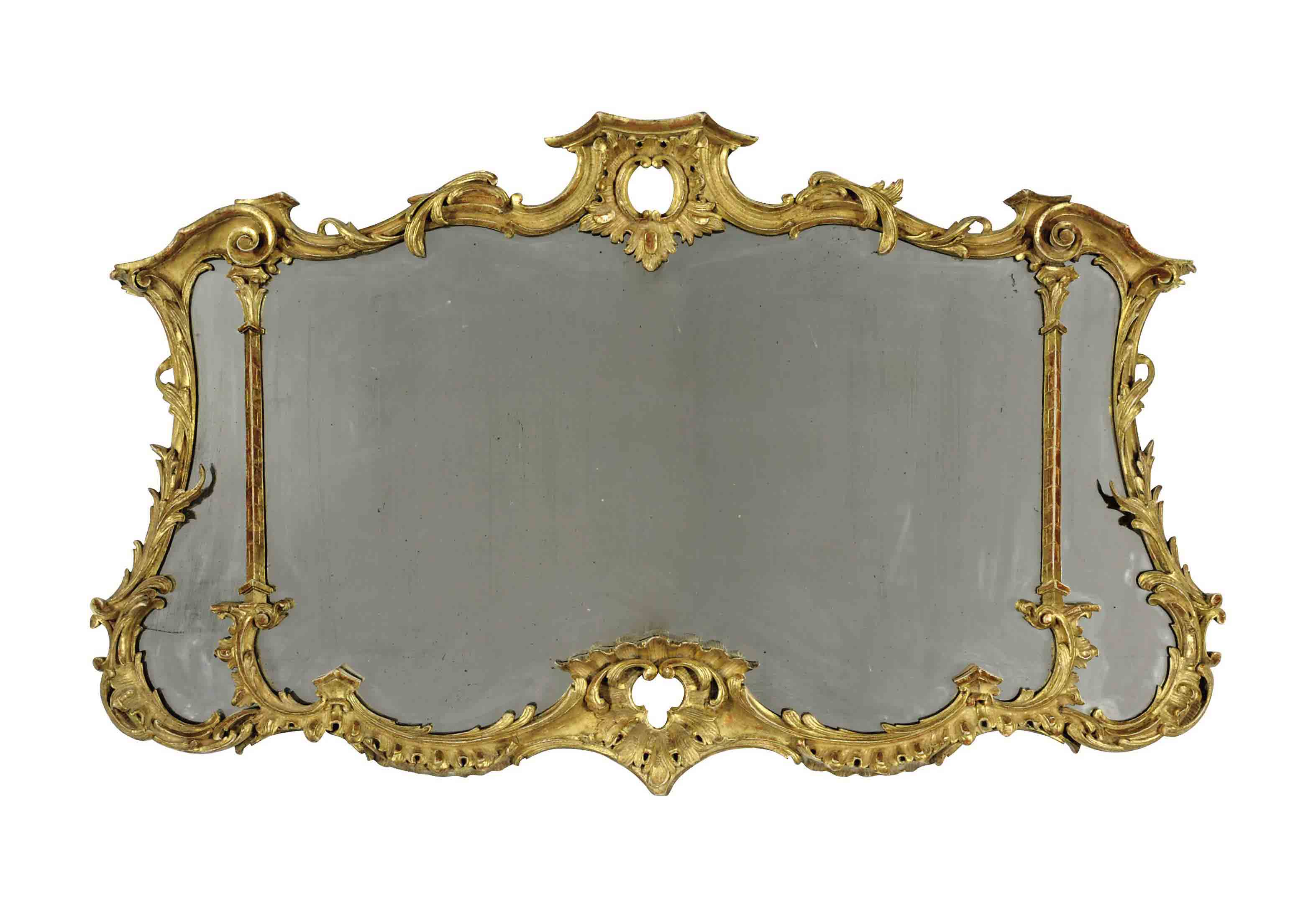 A CARVED GILTWOOD MIRROR,