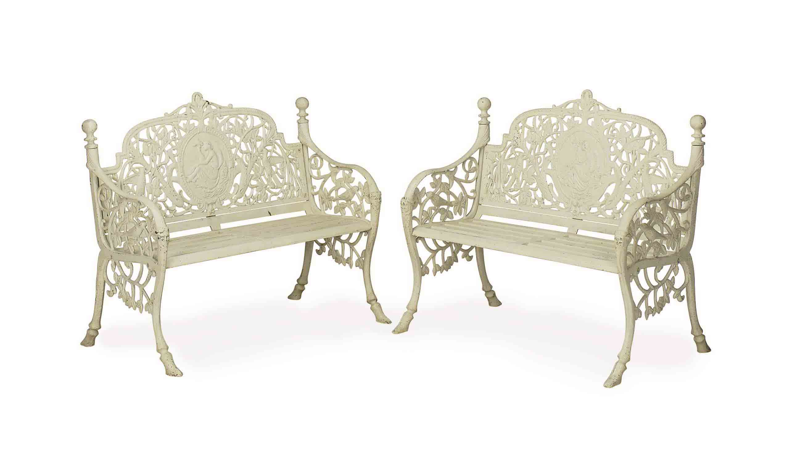 A PAIR OF ENGLISH WHITE-PAINTE
