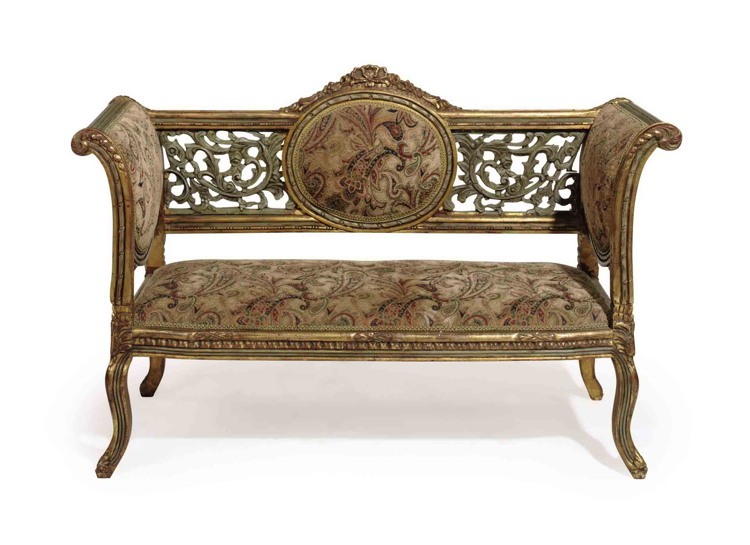 A GREY-PAINTED AND PARCEL-GILT