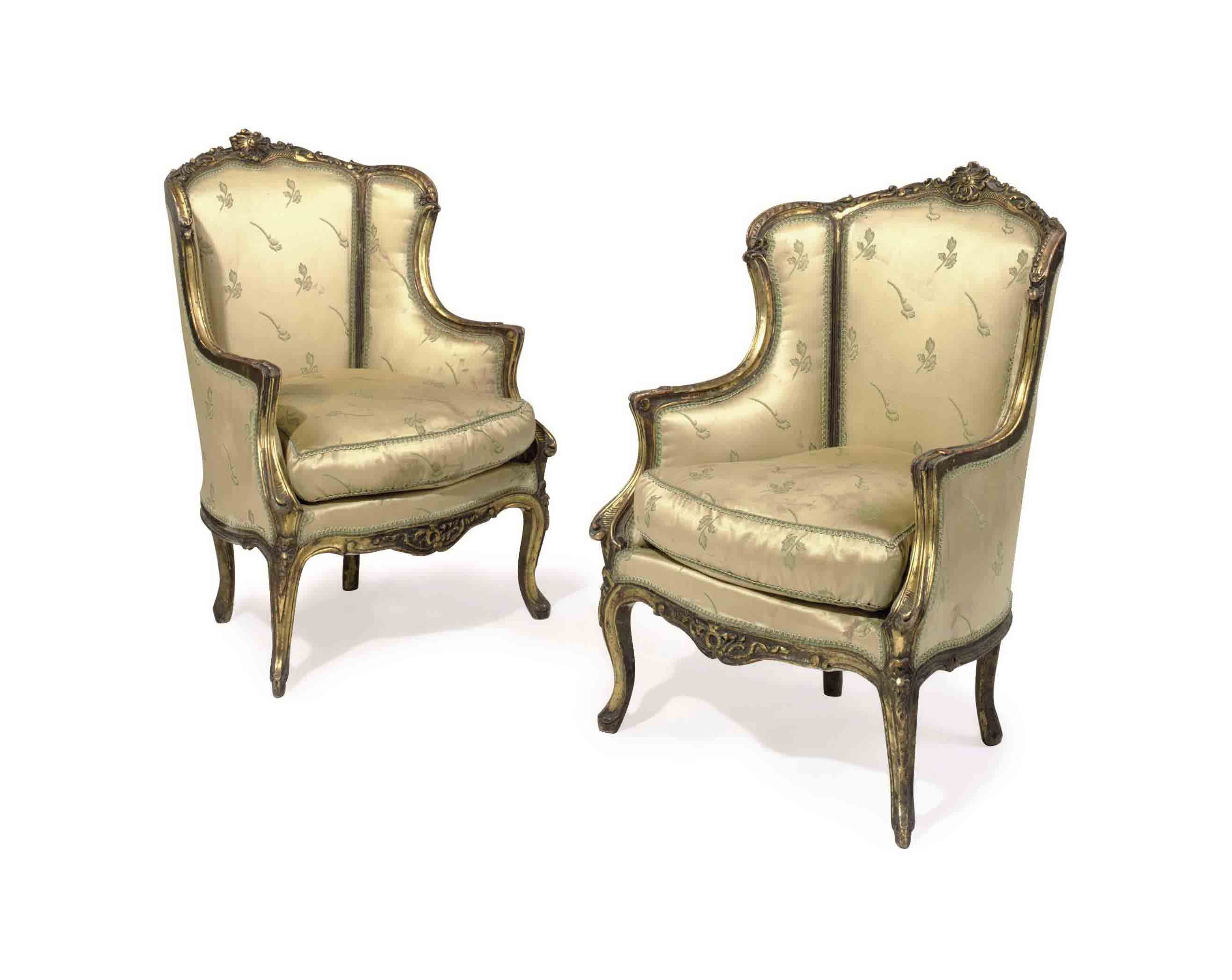 A PAIR OF GOLD SILK COVERED CA