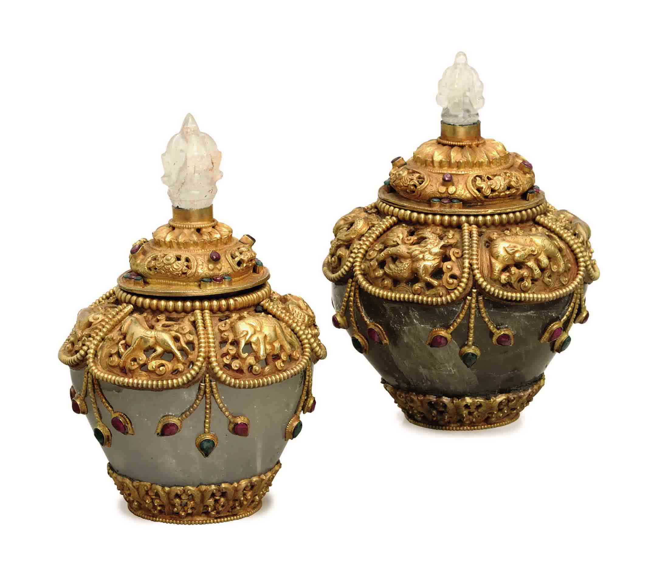 A PAIR OF GILT-METAL AND JEWEL