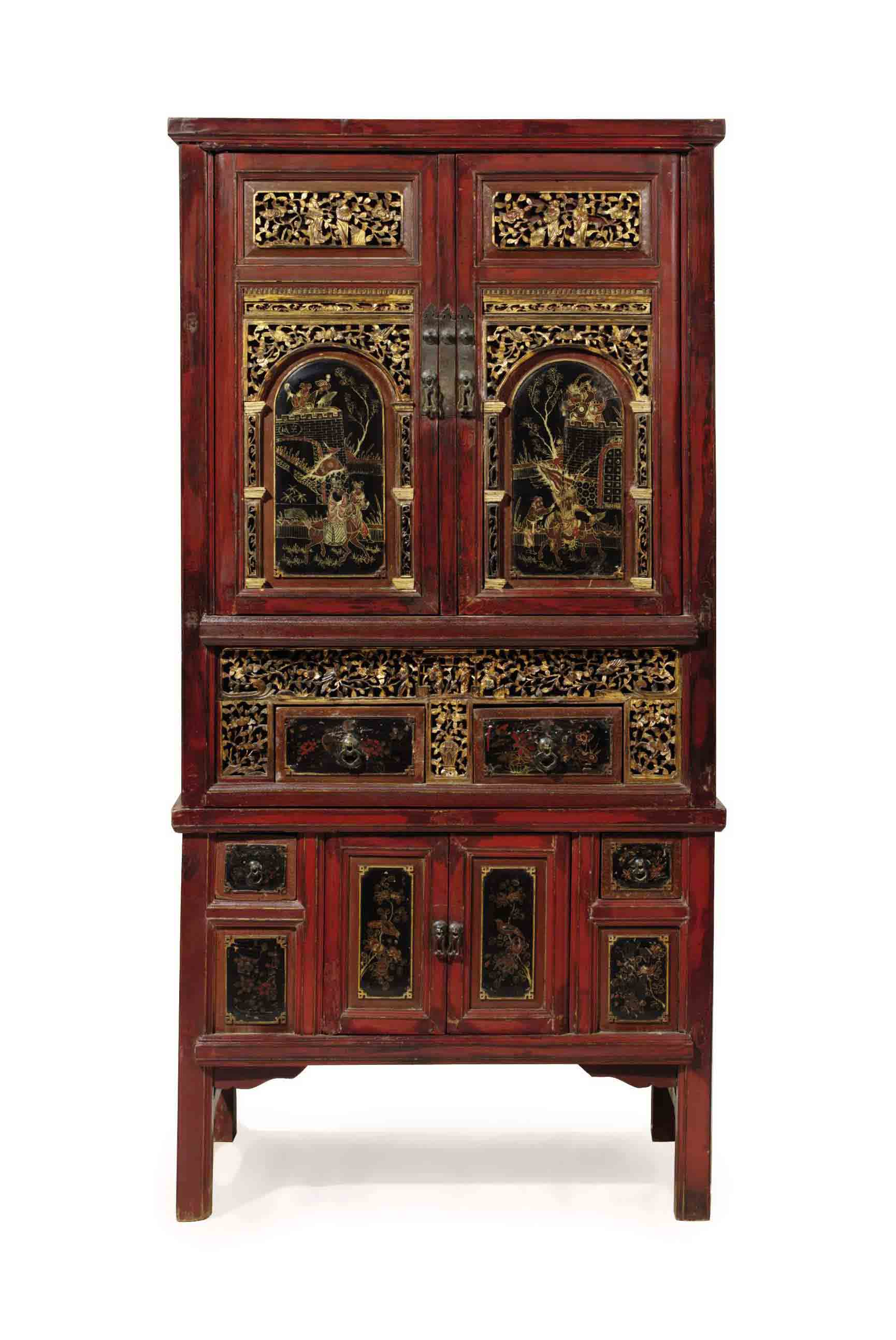 A CHINESE RED, POLYCHROME-JAPA