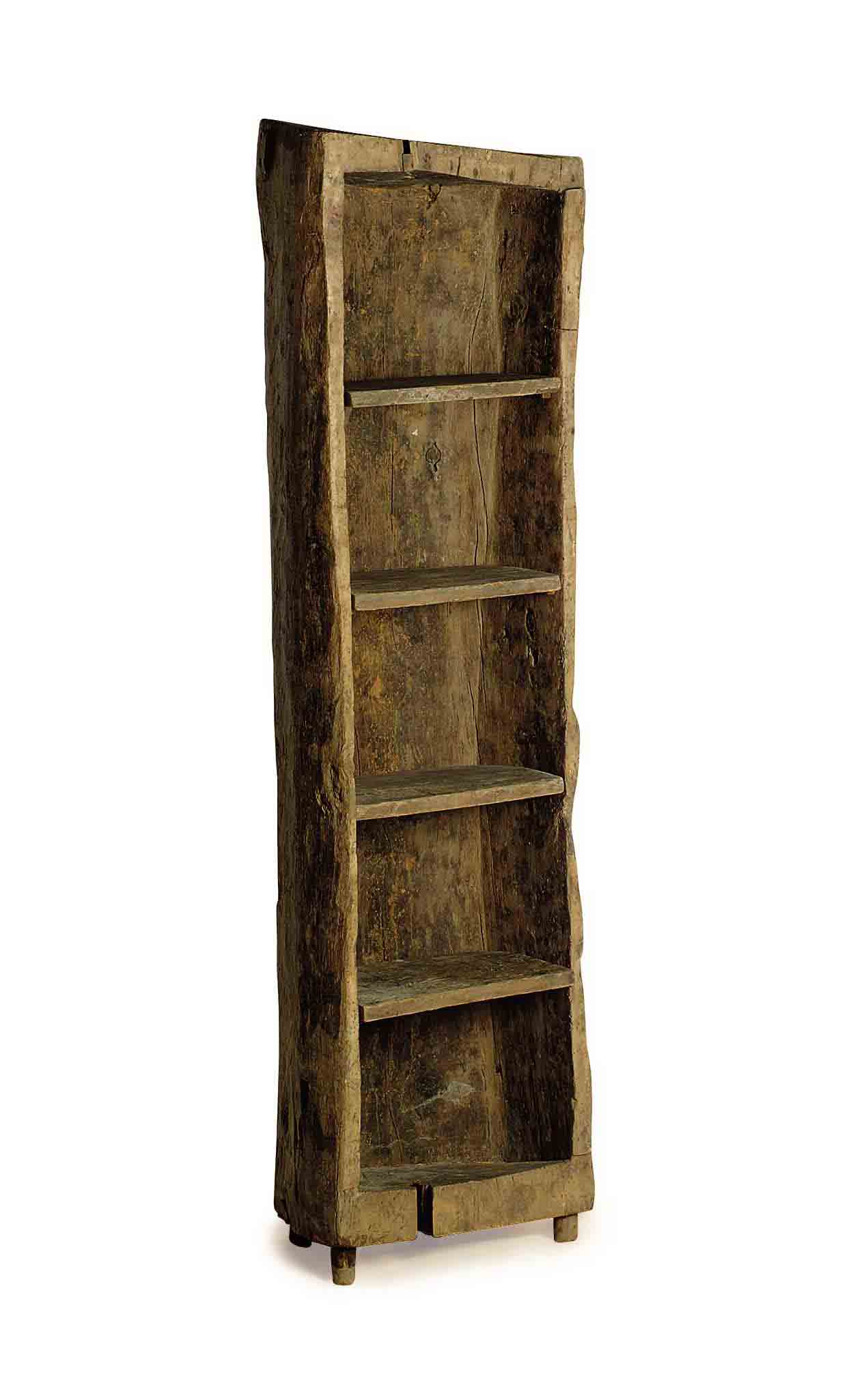 A RUSTIC CARVED BOOKCASE,