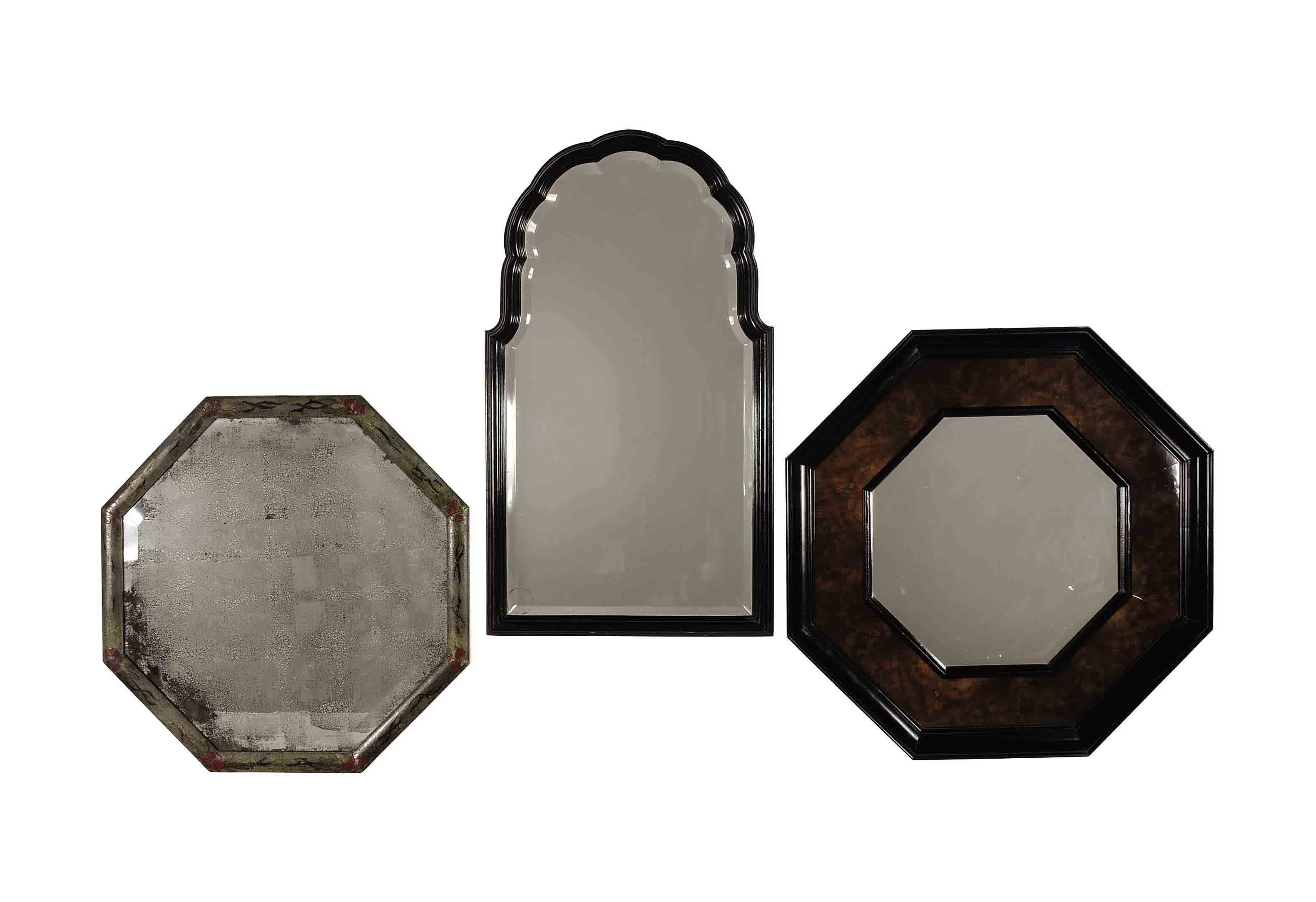 TWO OCTAGONAL MIRRORS,