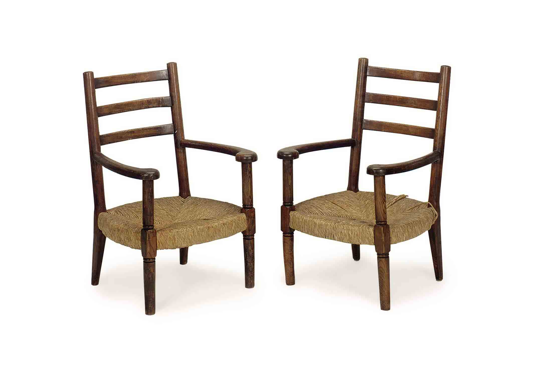 A PAIR OF FRENCH OAK AND RATTA