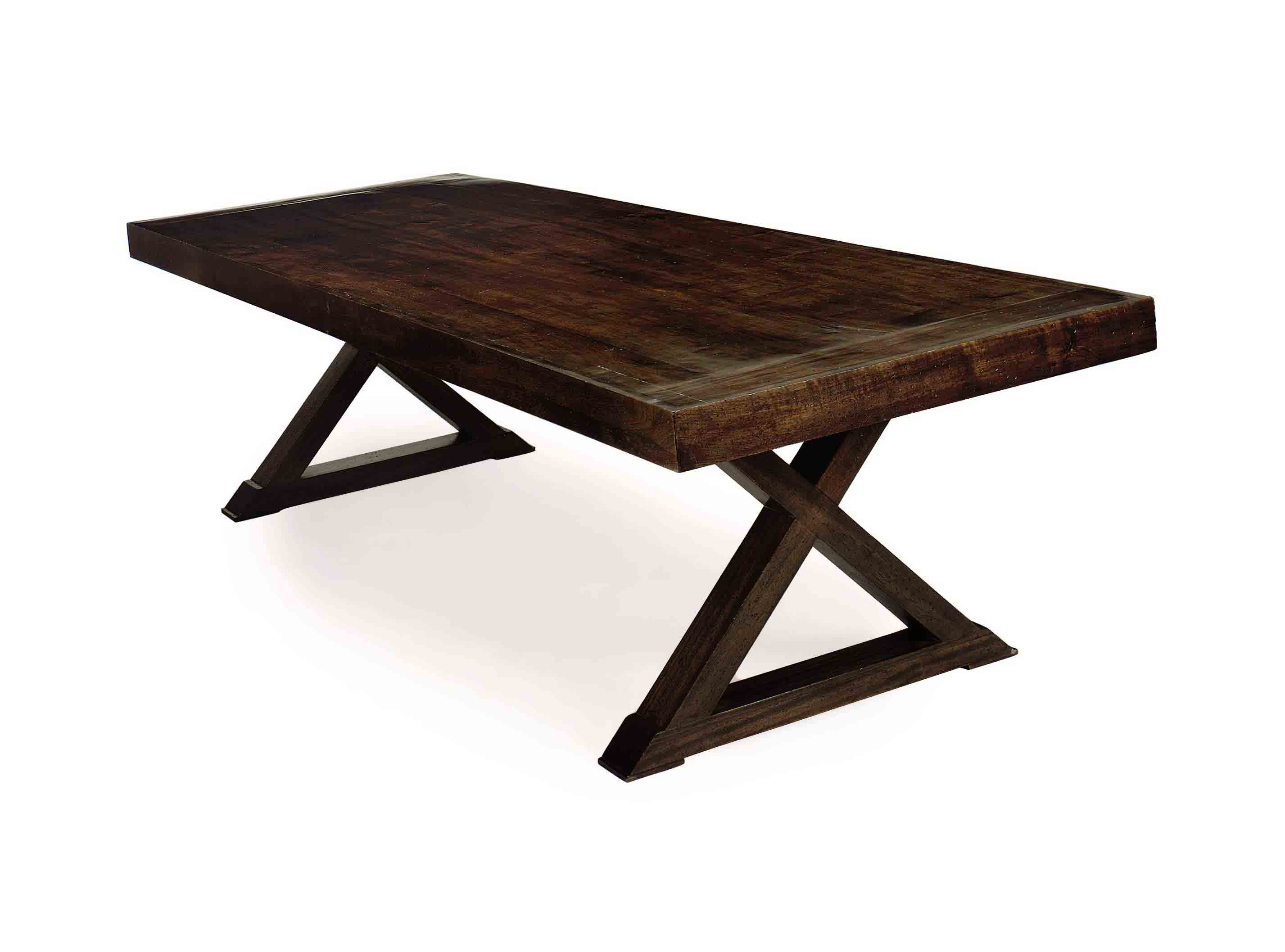 A LARGE WALNUT REFECTORY TABLE
