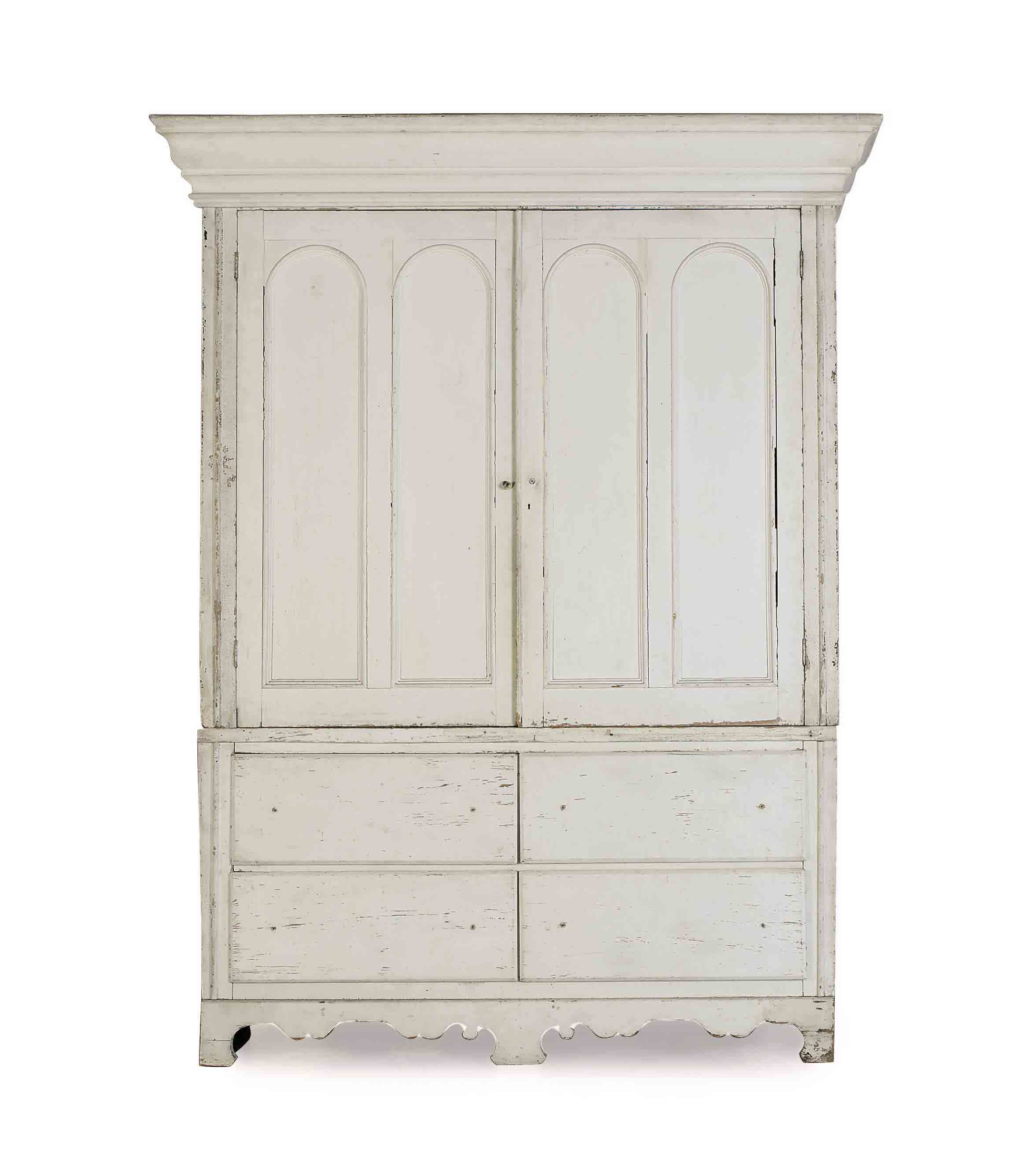 A MASSIVE FRENCH WHITE-PAINTED