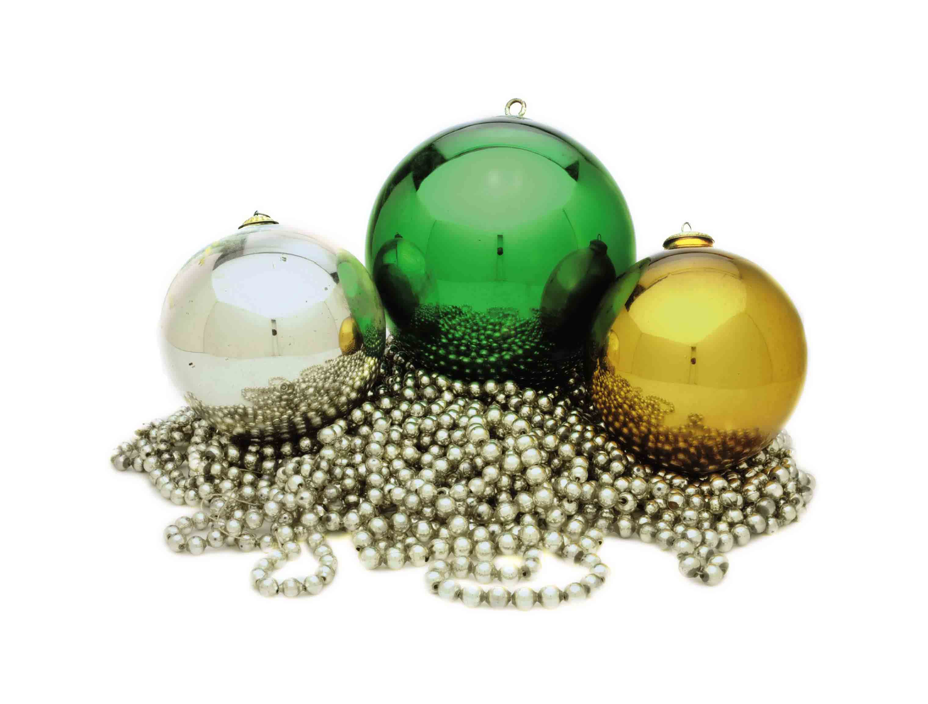 THREE MERCURY GLASS BALLS,