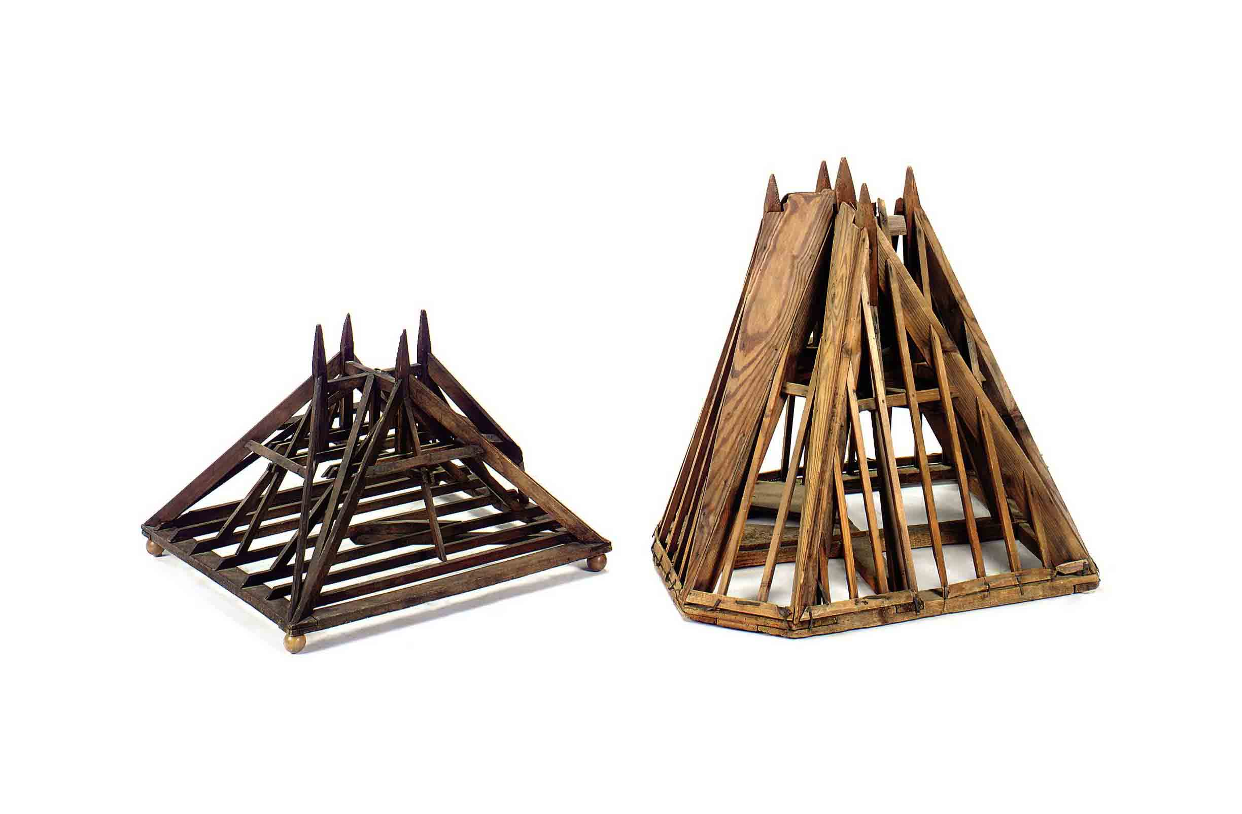 TWO STAINED PINE ARCHITECTURAL