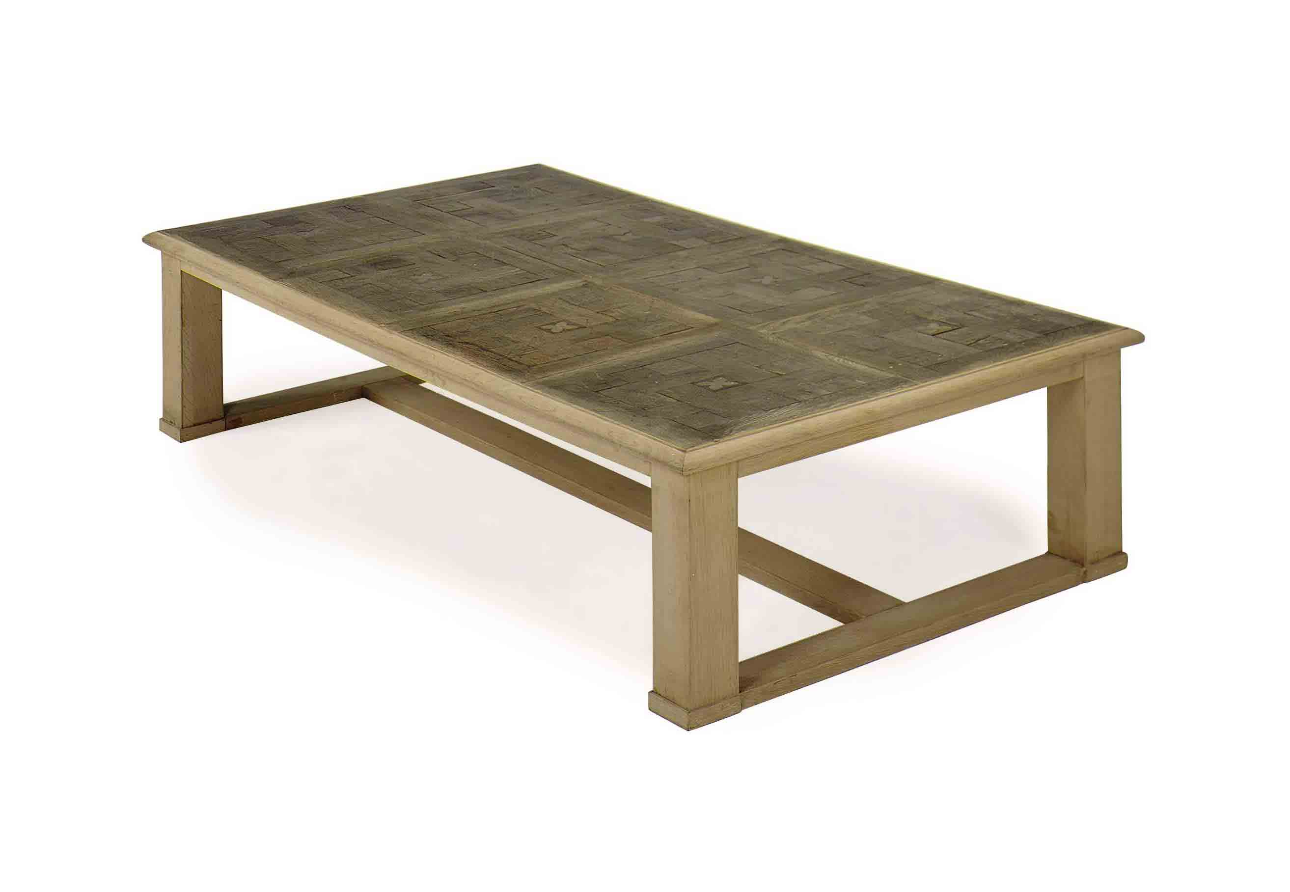 AN OAK AND PARQUETRY LOW TABLE