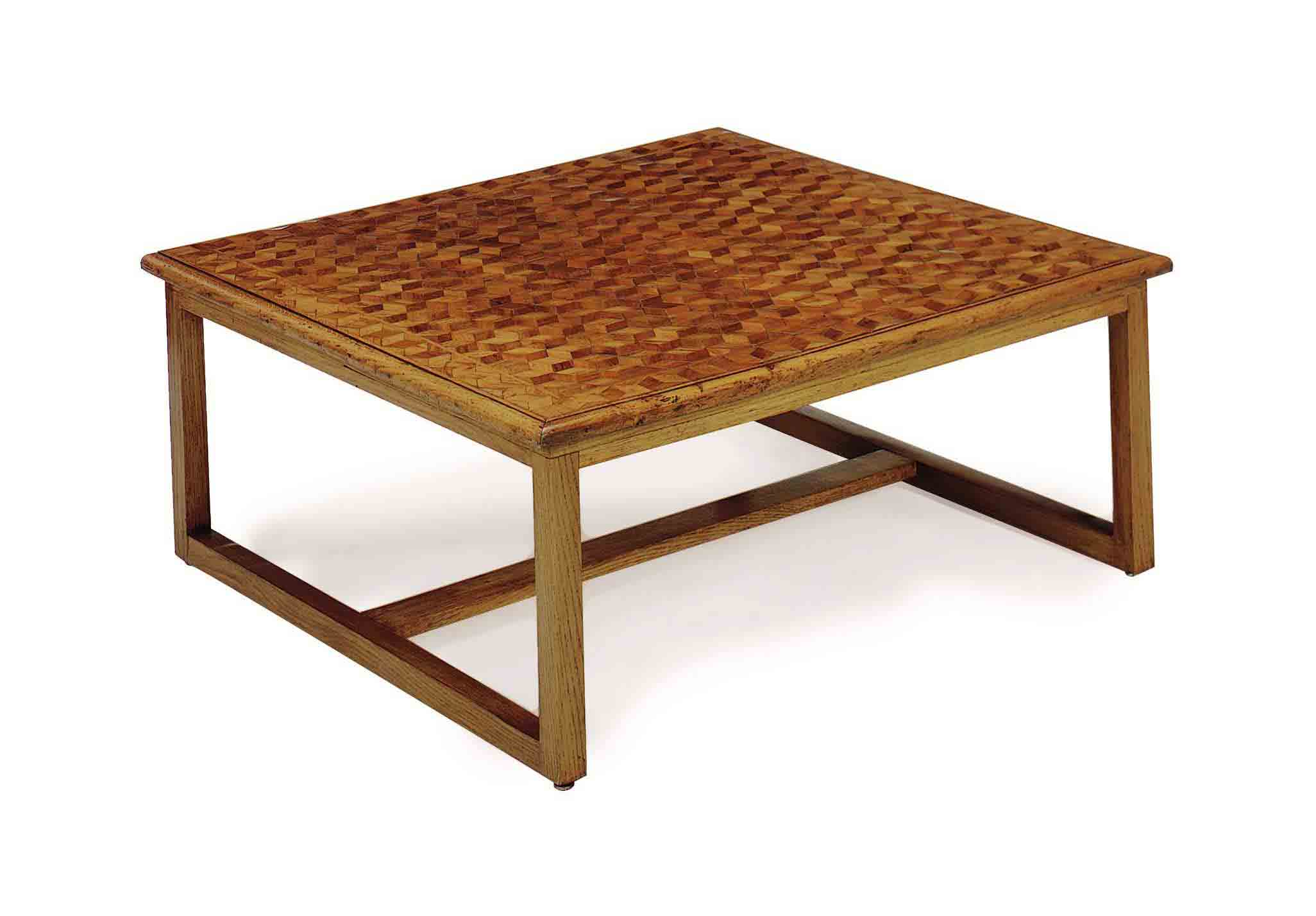 AN OAK AND MAHOGANY PARQUETRY