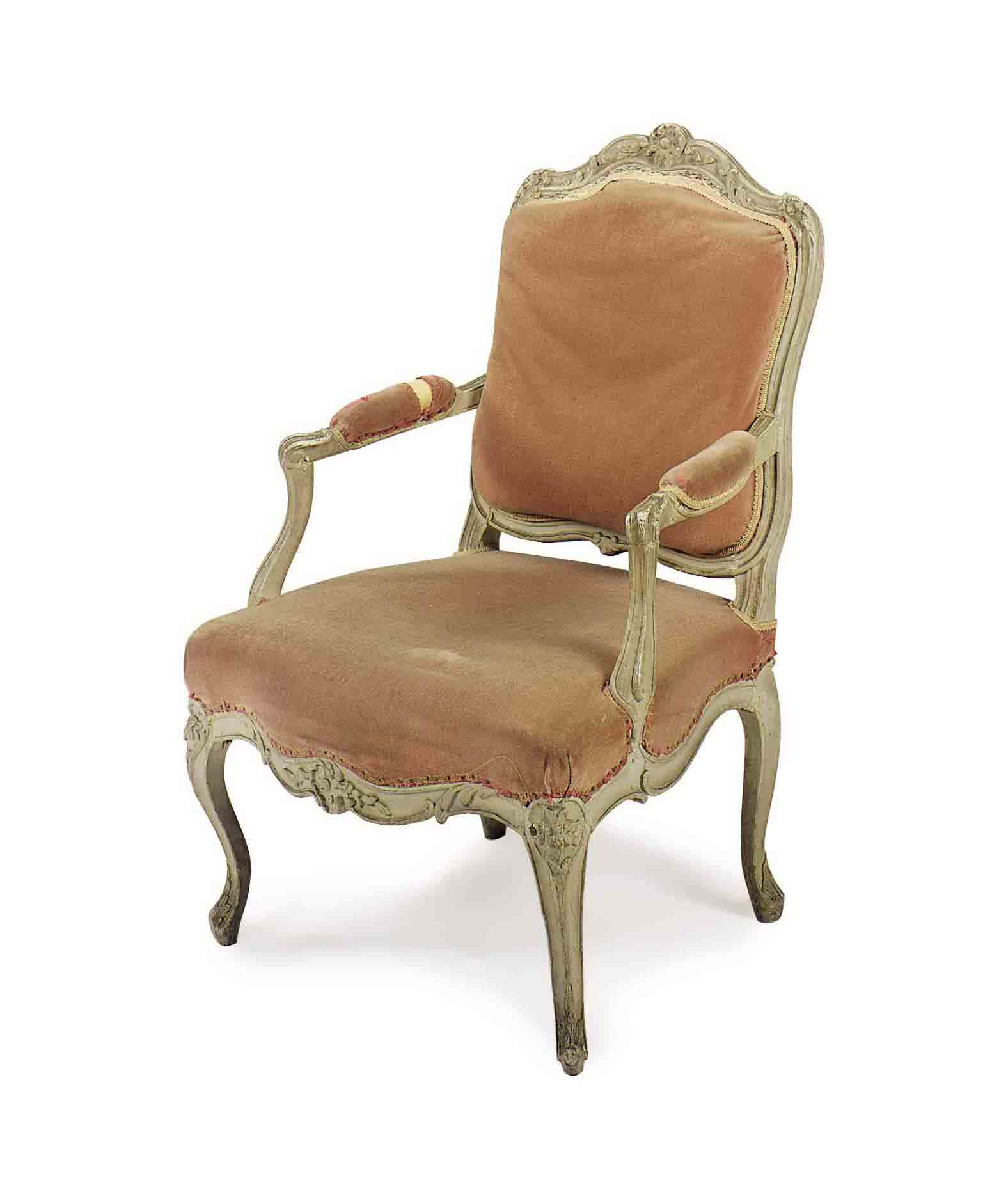 A LOUIS XV GREY-PAINTED FAUTEUIL,