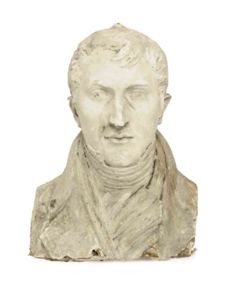 A FRENCH PLASTER BUST OF A GEN