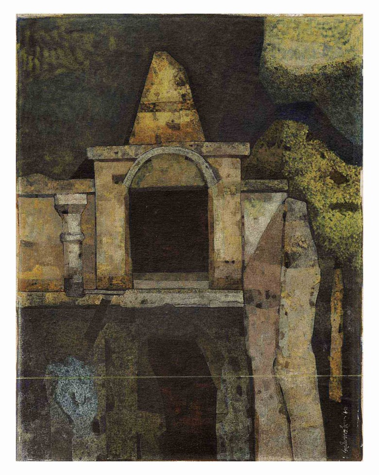 Ganesh Pyne (b. 1937), Untitled (The Shrine), 1989. Tempera on canvas laid on board. 18 x 14 in (45.7 x 35.5 cm). Sold for $56,250 on 13 September 2011 at Christie's in New York