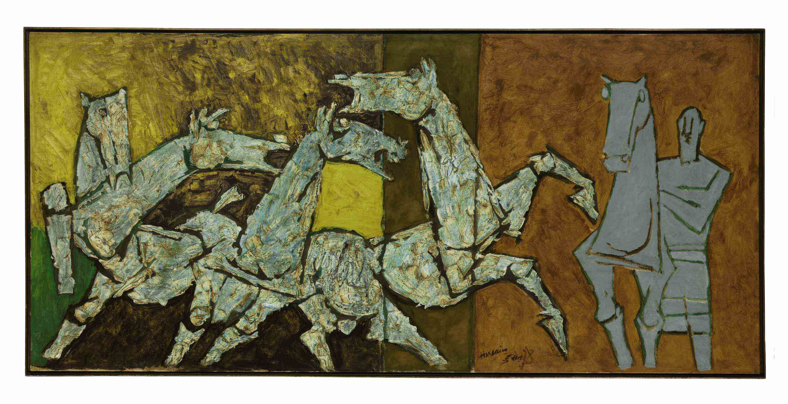 1b4f9f989 MAQBOOL FIDA HUSAIN (1915-2011) | Sprinkling Horses | 20th Century ...