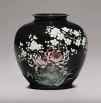 A cloisonné-enamel and embossed-foil (ginbari) vase