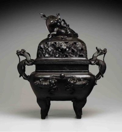 A LARGE BRONZE CENSER AND COVE