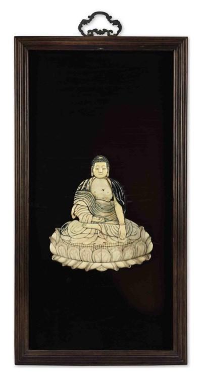 A RARE IVORY-INSET BUDDHIST WA
