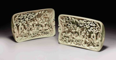 A FINELY CARVED IVORY BOX AND