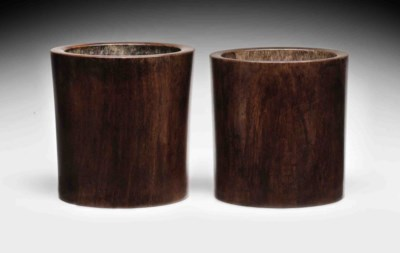 TWO HUANGHUALI BRUSH POTS, BIT