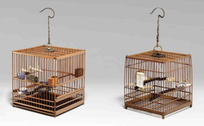 TWO BAMBOO BIRDCAGES