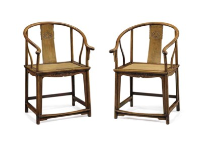 A PAIR OF FINELY CARVED HUANGH