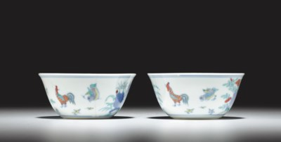 A PAIR OF DOUCAI 'CHICKEN' CUP
