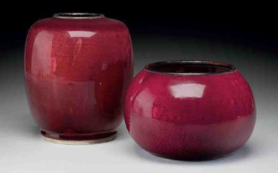 TWO COPPER-RED-GLAZED VESSELS
