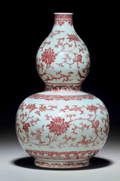 A COPPER-RED-DECORATED DOUBLE-