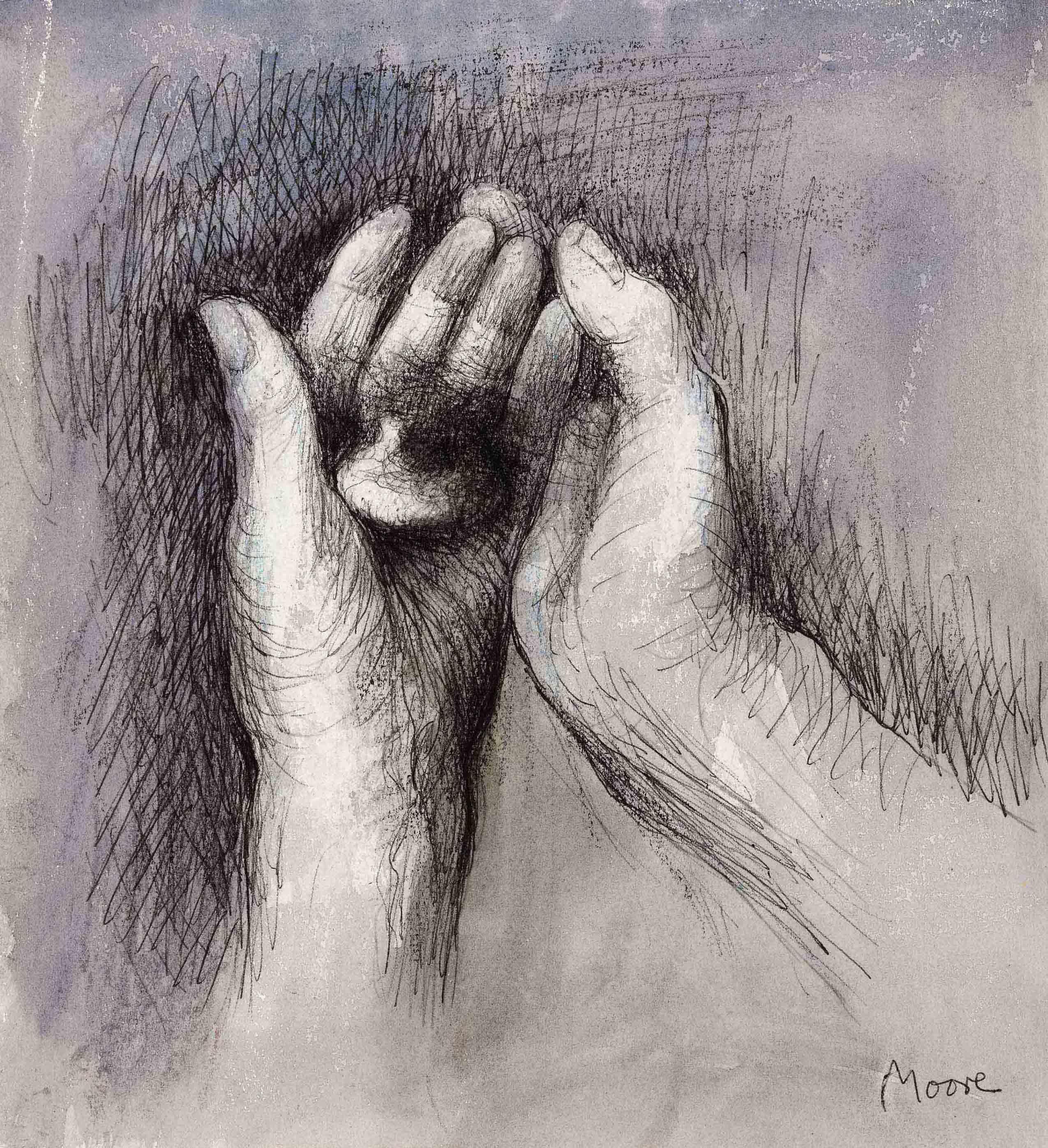 Henry Moore 1898 1986 Artist S Hands Pebble In Left Hand