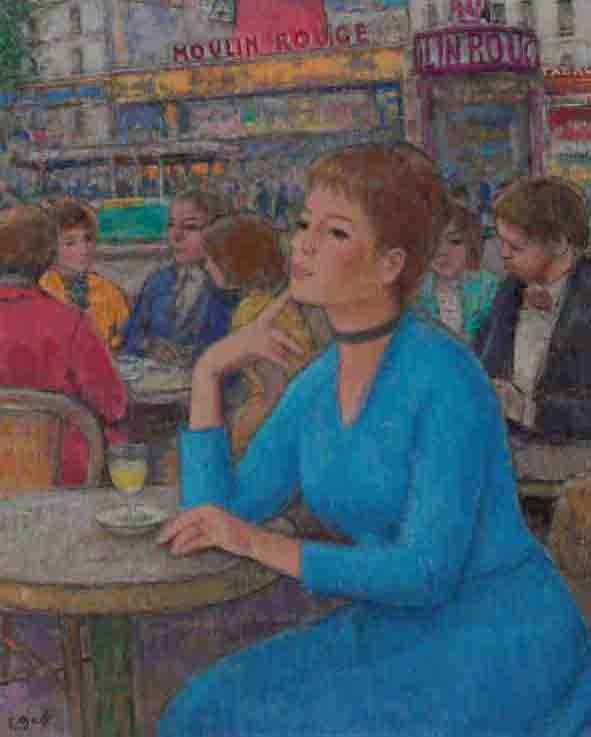 Le modèle en bleu, au café du Moulin Rouge